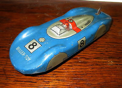 Biller Toy blauer Auto Union Rennwagen U.S. Zone Germany ; Blech, Blechauto