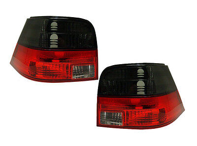 Vw Golf Mk4 1998-2004 Crystal Red & Smoked Rear Tail Lights Lamps M3 Style Pair