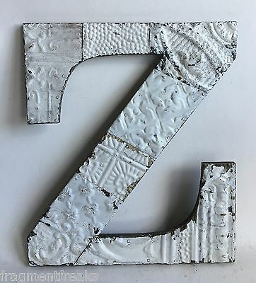 """Large Antique Tin Ceiling Wrapped 16"""" Letter 'Z' Patchwork Metal White A2"""