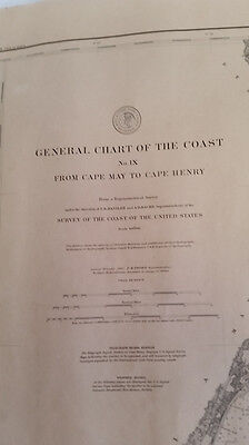 Antique 1889 Nautical Navigation Chart Cape May NJ to Cape Henry VA,Chesapeake