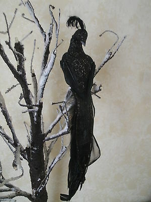 Clip On Artificial feather bird Peacock BLACK Decor Wedding Anniversary 10""