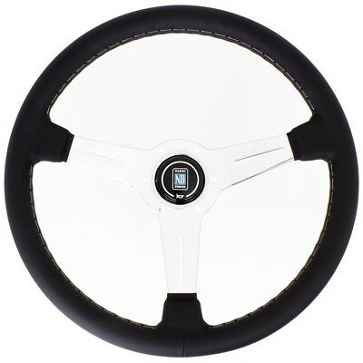 New Nardi Classic Leather Steering Wheel W/ Polished Spokes & Horn Button 360Mm