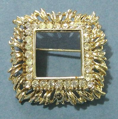 "Square pin with clear rhinestones 1.5"" vintage xzq ᴾ"
