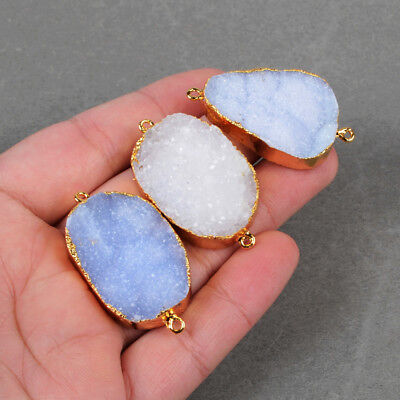 5Pcs Natural Blue Lace Chalcedony Druzy Connector Double Bail Gold Plated BG0715