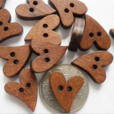 Wholesale Wooden Sewing Heart Shape Round Button Craft Scrapbooking CA