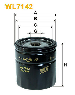 WIX WL7142 Car Oil Filter - Spin-On Replaces W71315 PH4751 OC237