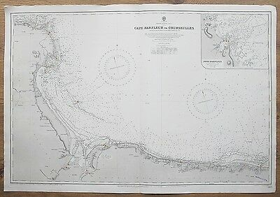 1836-1910 France Cape Barfleur To Courseulles Vintage Admiralty Chart Map