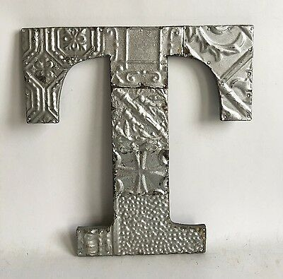 "Large Antique Tin Ceiling Wrapped 16"" Letter 'T' Patchwork Metal Chic Silver A9"