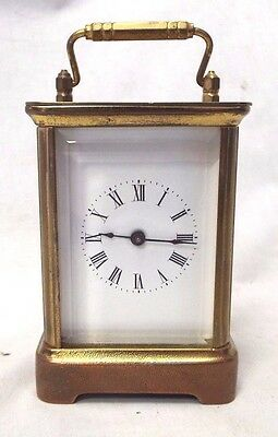 Antique WATERBURY CLOCK CO. Beveled Glass & Brass CARRIAGE CLOCK