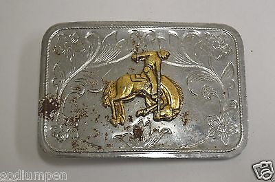 WOW Aged Vintage Bucking Bronco Rodeo Silver Tone Belt Buckle HTF
