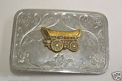 WOW Vintage Western Covered Wagon Trail Silver Tone Belt Buckle HTF