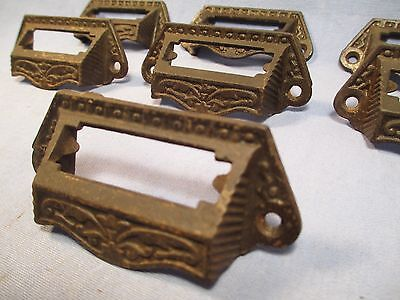 Lot of 7 Antique Matching Cast Iron Pulls w/ Label Holders /    JU 115