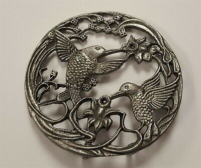 """Vintage Genuine Solid Pewter Hummingbirds 3"""" Round Stand Or Candle Lid  S625"""