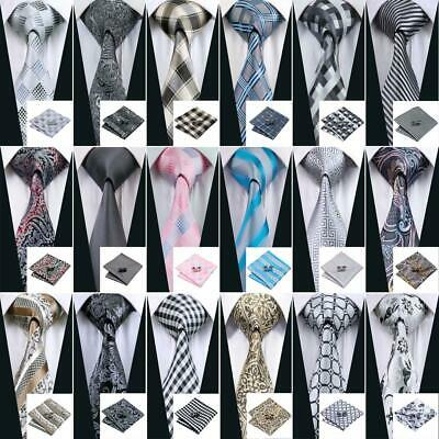 Classic Grey Necktie 100% Silk Mens Ties Set Jacquard Woven Wedding Business