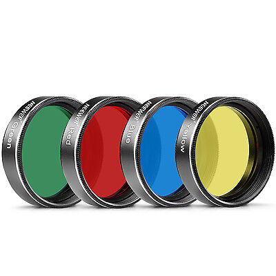 """1.25"""" Four Color Filter Set for Telescope Eyepiece:Red/Yellow/Grreen/Blue UD#15"""