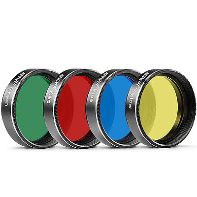 "Neewer 1.25"" Thread Filter Set for Telescope Eyepiece: Red/ Yellow/ Green/ Blue"