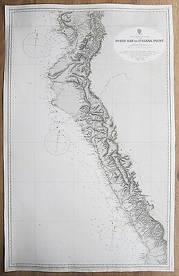 1836 South America Pisco Bay To St. Elena Point Ecuador Peru Admiralty Chart Map
