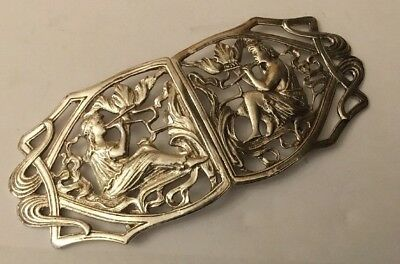 Vintage Hallmarked Sterling Silver Figural God Pan Playing Pipes Nurses Buckle