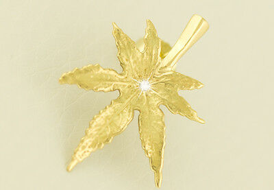 CANNABIS BLATT Single OHRSTECKER mit Solitär Brillant, 14kt.Gold, Hanfblatt,Weed