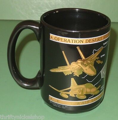 Operation Desert Storm Kuwait 1991 Commemorative Strike Aircraft 22K Coffee Mug