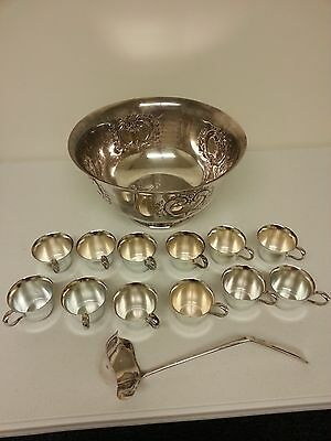 Webster Wilcox international silver plate punch bowl and cup set 14 pieces