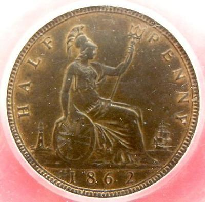1862 - Victoria - HALF PENNY - Y.H. Slabbed CGS AU75 UNC or  near so - MW109F