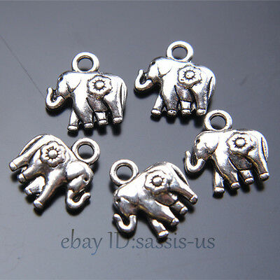 50pcs 12mm Charms Peace Flower Elephant Pendant Tibet Silver DIY Jewelry A7419