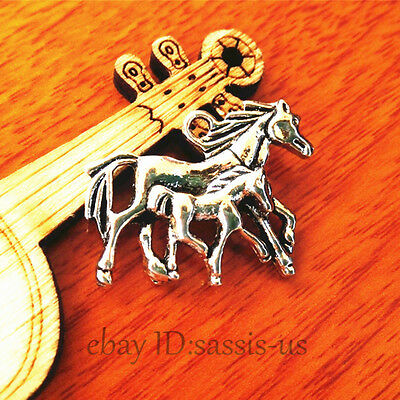 20pcs 28mm Charms Lover Horse Monther Son Pendant Tibet Silver DIY Jewelry A7420
