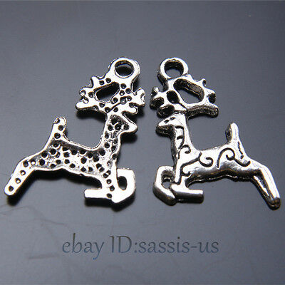 50pcs 23mm Charms 3D Sika Deer Pendant Tibet Silver DIY Jewelry Making A7425