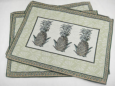 """Tapestry Pineapple Placemats Lot of 4 Green and Brown 17.5"""" x 13"""