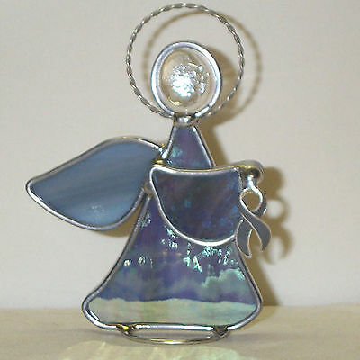 Diabetes Support Ribbon Leaded Gray Grey Stained Glass Angel Handmade in USA New