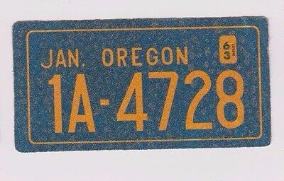 "1963 Wheaties Cereal Oregon 4"" x 2"" License Plate Glitter Sticker"