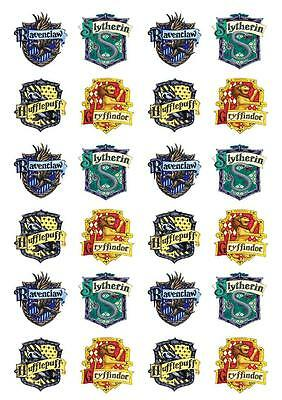 24 Harry Potter Crest STAND UP Cupcake Edible Paper Cake Topper Decorations Kids
