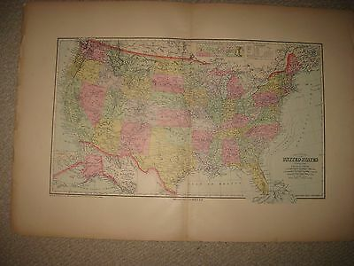 Huge Folio Size Antique 1909 United States Handcolr Map Texas California Florida