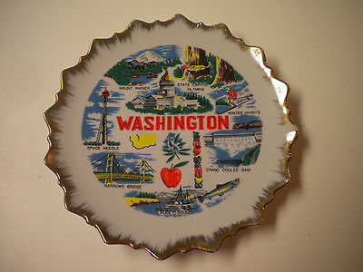 Vintage Washington State Souvenir Collector Plate, 7 1/4 in.
