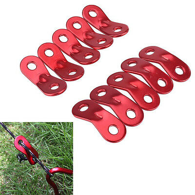 10x Red Lock Rope Tensioners Guy Line Bent Runners Outdoor Camping Tent NEW