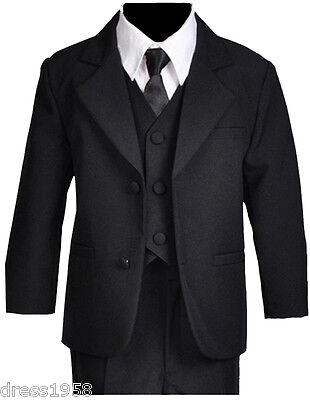 Boys Toddler, Teen Ring Bearer Recital Black Tuxedo Suit, Size :Small to 14
