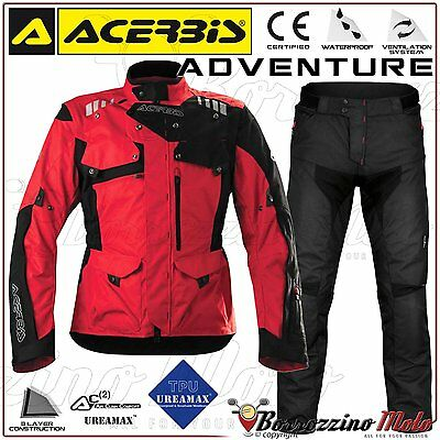 Kit Moto Acerbis Adventure Imperméable Enduro Touring Rouge Veste Xl Pantalon 52