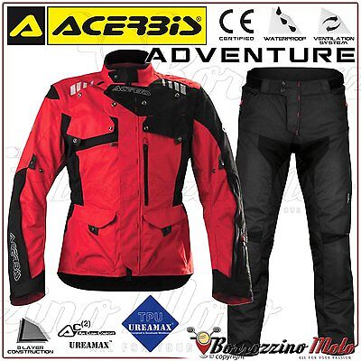 Kit Moto Acerbis Adventure Imperméable Enduro Touring Rouge Veste + Pantalon Xxl