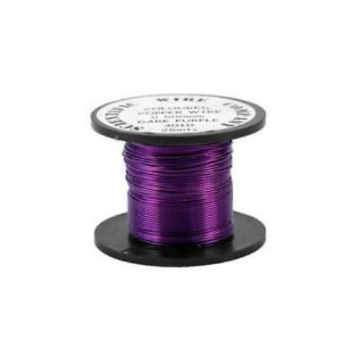 1 x Dark Purple Plated Copper 0.5mm x 15m Round Craft Wire Coil W5010