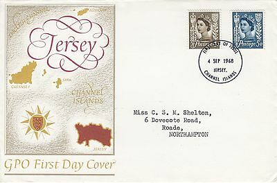 (83257) CLEARANCE GB Jersey FDC 5d 4d 4 September 1968