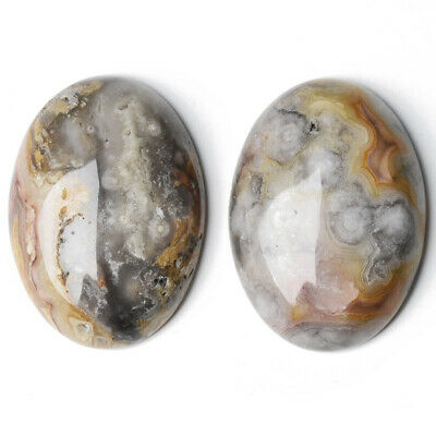 1 x Mixed Crazy Lace Agate 18 x 25mm Oval-Shaped Flat-Backed Cabochon CA16631-6