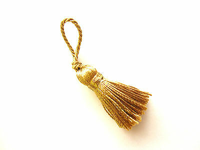 10 small gold Christmas decoration tassels - Mini Xmas craft embellishments