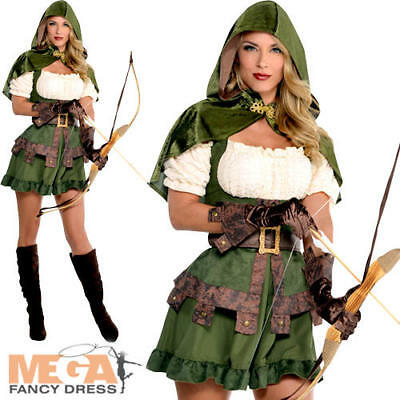 Robin Hood Ladies Fancy Dress Medieval Book Character Womens Adults Costume New  sc 1 st  PicClick UK & ROBIN HOOD LADIES Fancy Dress Medieval Book Character Womens Adults ...