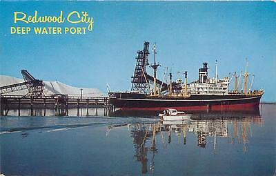 REDWOOD CITY, CA  California    DEEP WATER Port Ship   1968  Postcard