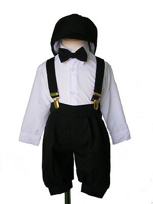Infant Toddler Boy Knickers Vintage Outfit, White/Black, 12 Month to 4T