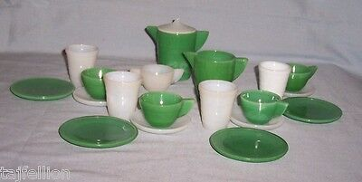 AKRO AGATE Green & White  STACKED DISC & PANEL, TEA & LEMONADE SETS, 20 Pieces