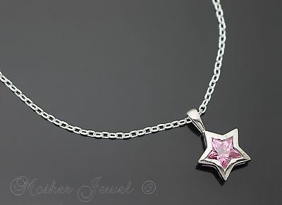 Real Genuine Solid 925 Sterling Silver Pink Lucky Star Pendant Chain Necklace