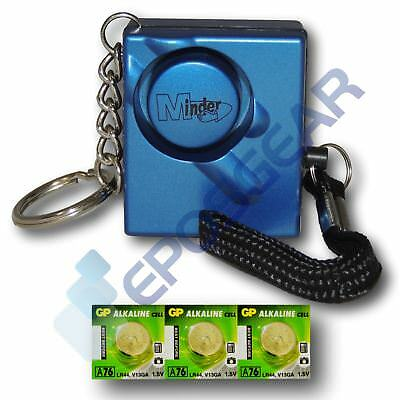Blue 140db Personal Panic Rape Attack Safety Keyring Alarm with Spare Batteries