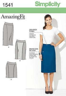 SIMPLICITY SEWING PATTERN Misses' & Miss Petite Amazing Fit Skirt SIZE 8-24 1541